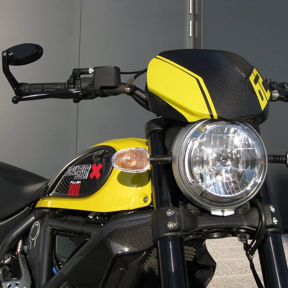 ducati scrambler carbon fibre headlight fairing screen