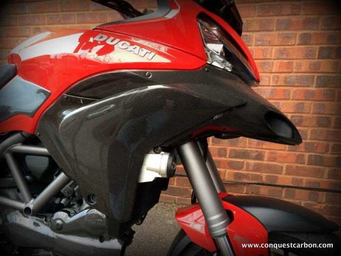 Mick's Ducati Multistrada 1200 fitted with Conquest Carbon Fibre Beak & Side Fairings