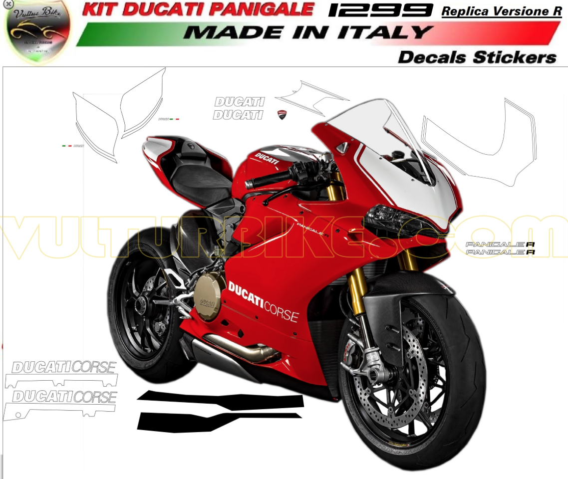 Vulturbike Ducati Panigale R Decal Sticker Kit - Ducati motorcycles stickers
