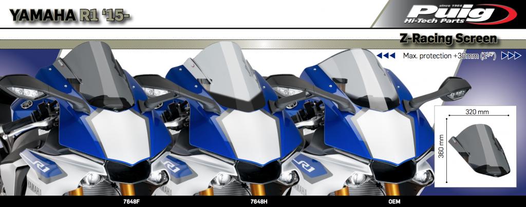 Puig Yamaha YZF R1 R1M Double Bubble Race Screen 2015+