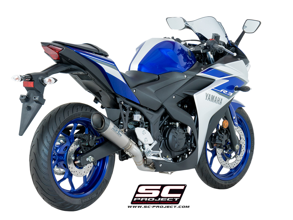 sc project exhaust yamaha yzf r3 full system 2 1 s1 silencer. Black Bedroom Furniture Sets. Home Design Ideas