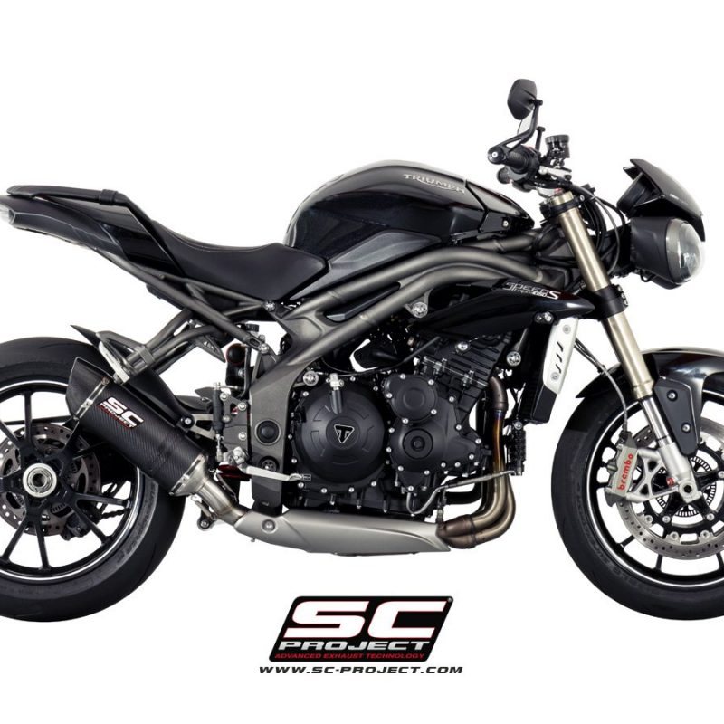 SC Project Exhaust Triumph Speed Triple 1050 Oval Silencer Low Position 2016+