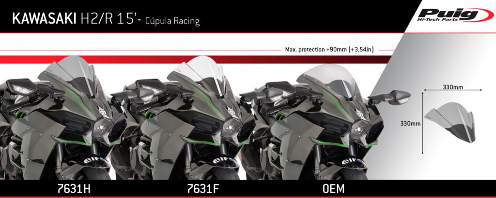 Puig Kawasaki H2 H2R Double Bubble Race Screen 2015+