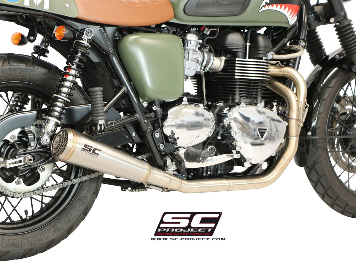 SC Project Exhaust Triumph Bonneville Full System 2-1 Conic '70s