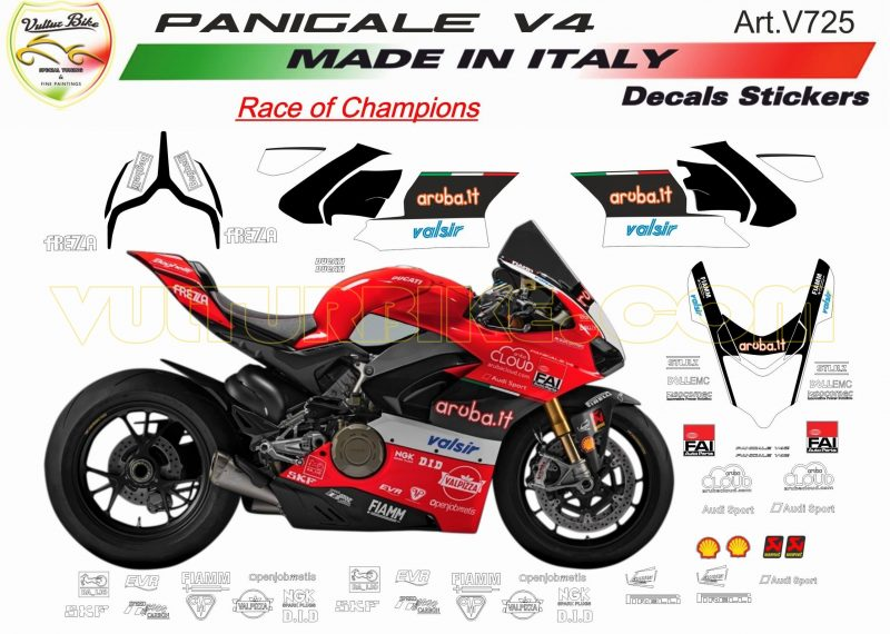 Vulturbike Ducati Panigale V4 Aruba WSBK Decal Sticker Kit