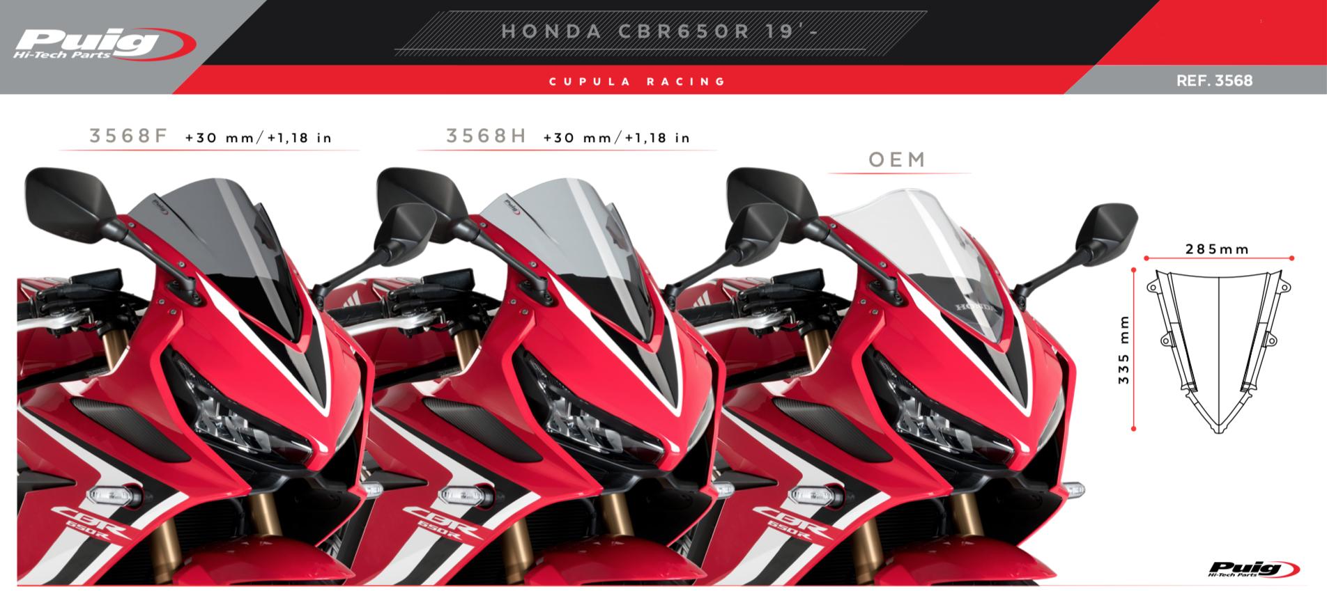 Puig C/úpula Racing 3568F para Honda CBR650R 19