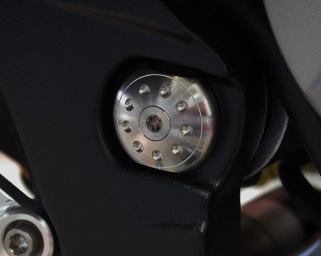 MotoCorse MV Agusta 675 / 800 Titanium Swingarm Pivot Plug Caps