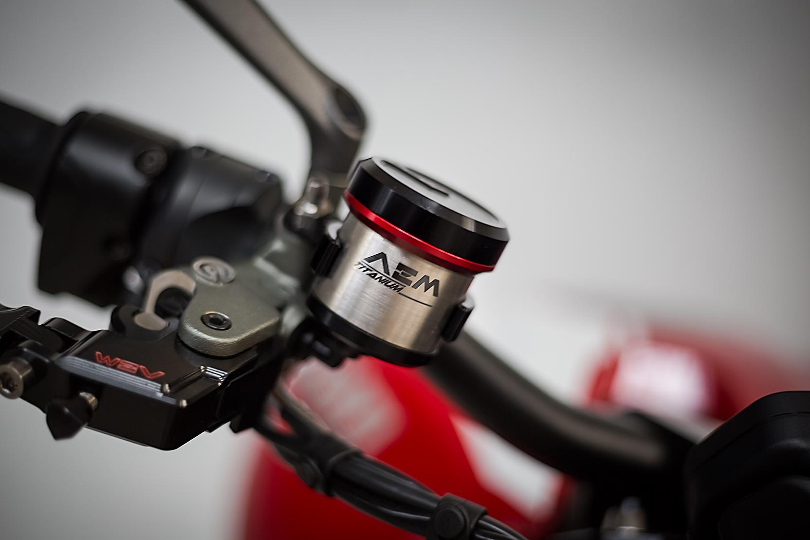 AEM Factory Ducati MV Agusta Titanium Brake + Clutch Reservoir Fluid Tanks