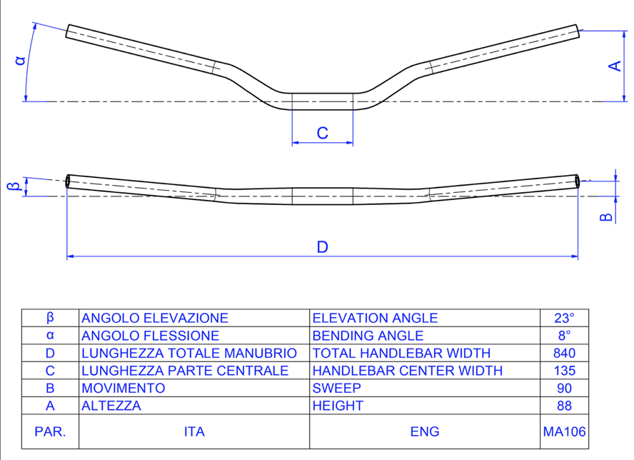 CNC Racing MV Brutale 675/800 Tapered Handlebars