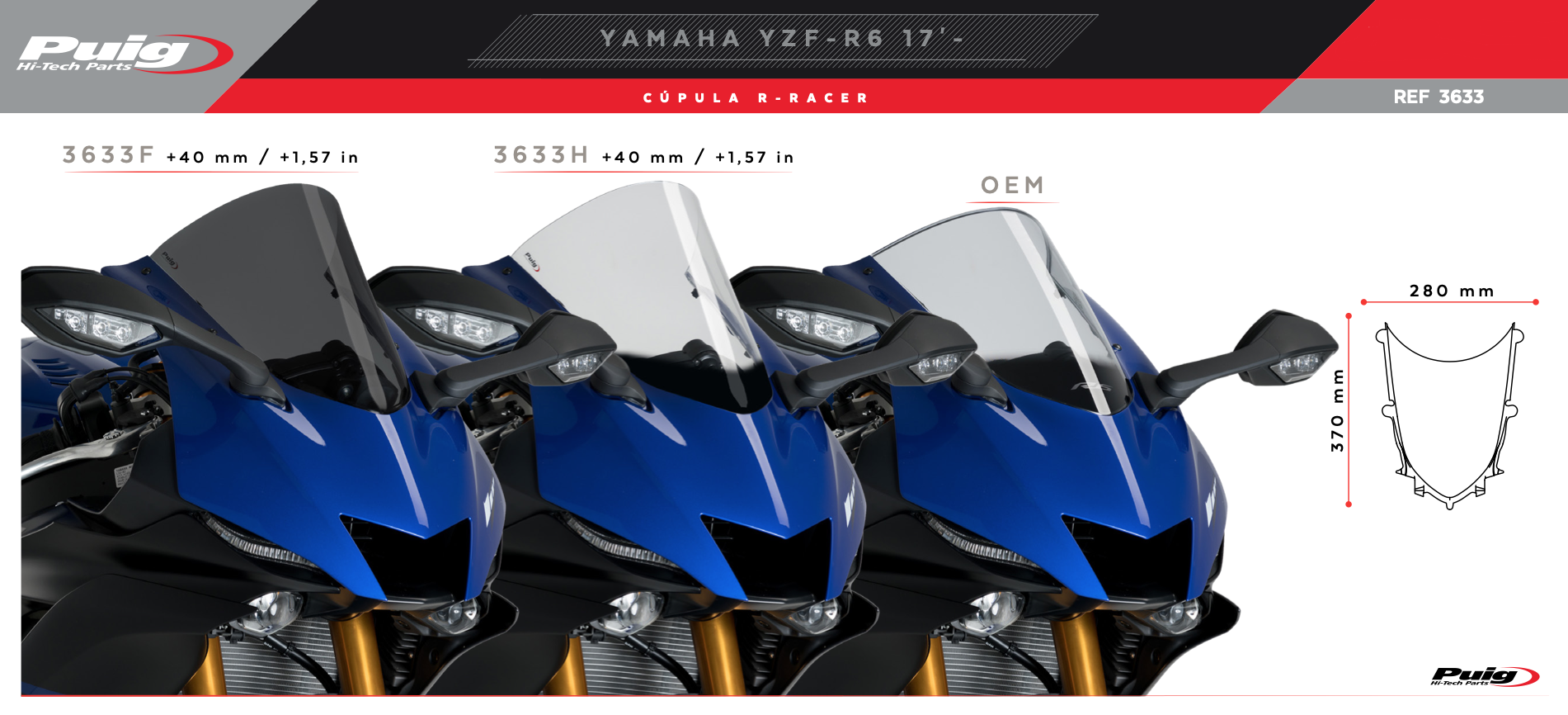 Puig Yamaha YZF R6 R-Racer Screen 2017+
